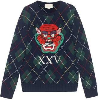 Gucci Argyle wool sweater with appliqués