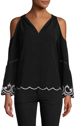 Ramy Brook Embroidered Cold-Shoulder Top