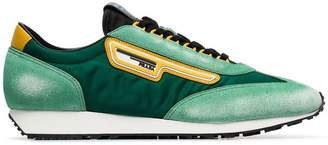Prada green, black and yellow milano 70 suede and mesh sneakers