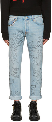 Gucci Blue Studded Scribble Jeans $1,150 thestylecure.com