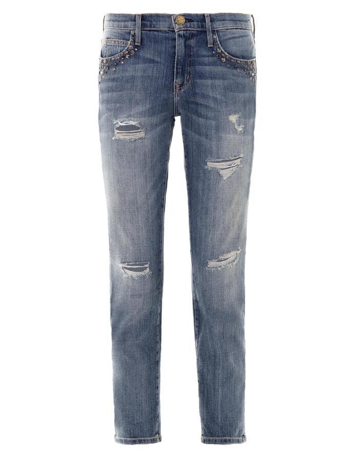 Current/Elliott Fling mid-rise embellished boyfriend jeans