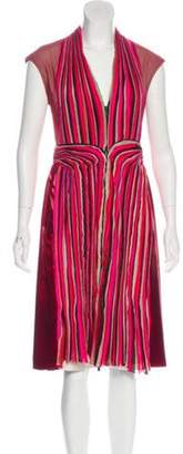 Bottega Veneta Silk Pleated Midi Dress Red Silk Pleated Midi Dress