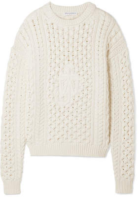 Cable-knit Cotton-blend Sweater - Ivory