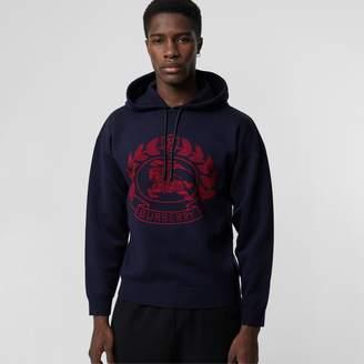 Burberry Crest Merino Wool Blend Jacquard Hoodie
