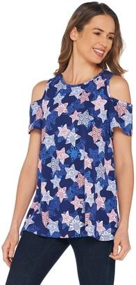 Denim & Co. Printed Round Neck Cold Shoulder Short Sleeve Top