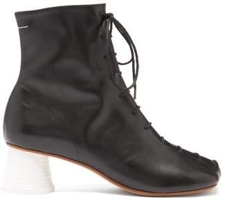MM6 MAISON MARGIELA Lace Up Leather Ankle Boots - Womens - Black