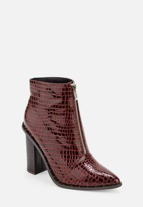 Missguided Burgundy Croc Zip Heeled Ankle Boots