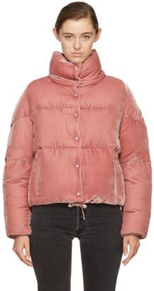 Moncler Pink Velvet Down Cercis Jacket $1,295 thestylecure.com