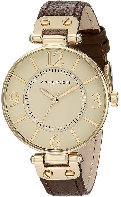 Anne KleinAnne Klein - 109168IVBN Round Dial Leather Strap Watch Analog Watches