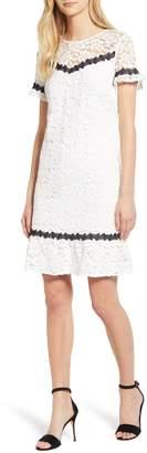 Karl Lagerfeld Paris Contrast Detail Cotton Blend Lace Dress