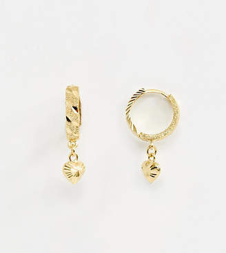 Asos Design DESIGN sterling silver with gold plate hoop earring with heart charm