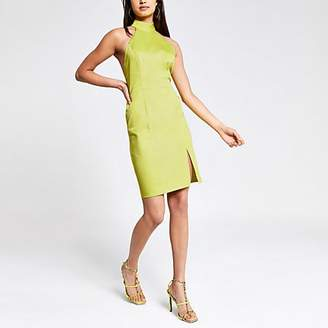 River Island Lime cut out back bodycon dress