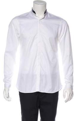The Kooples Leather-Trimmed Button-Up Shirt