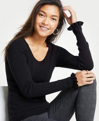 Ann Taylor Ruffle Sleeve Sweater