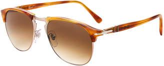 Persol PO8649 Havana Round Half-Rim Sunglasses