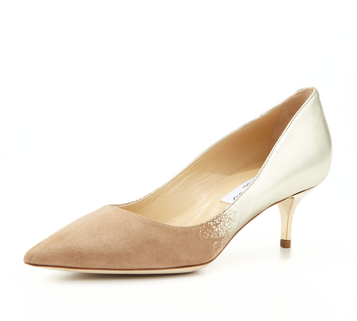 Jimmy Choo Aza Ombre Pointed-Toe Pump, Nude/Champagne