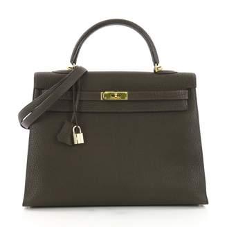 Hermes Kelly 35 Green Leather Handbag