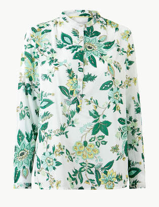 Marks and Spencer Pure Cotton Floral Print Long Sleeve Shirt
