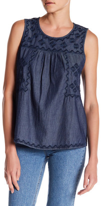SUSINA Embroidered Chambray Tank $24.97 thestylecure.com