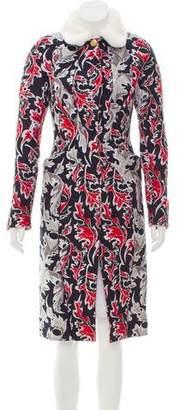 Thom Browne Fur-Trimmed Jacquard Coat