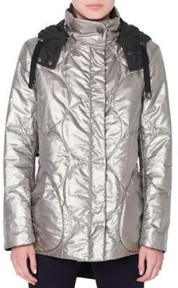 Akris Punto Metallic Circle-Quilted Puffer Coat