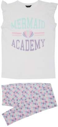 M&Co Teens' mermaid slogan print pyjamas