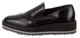 Prada Leather Brogue Slip-On Sneakers Black Leather Brogue Slip-On Sneakers