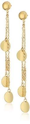 TreEsse Italian 10k Gold Linear Disc Dangle Earrings
