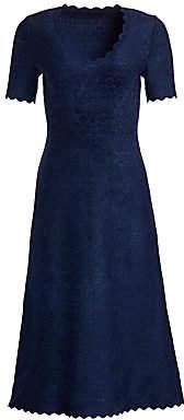 Alaia Women's Moonlight Scallop-Trim A-Line Dress