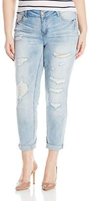 Dollhouse Women's Plus Size Destructed Roll Up Skinny Jeans