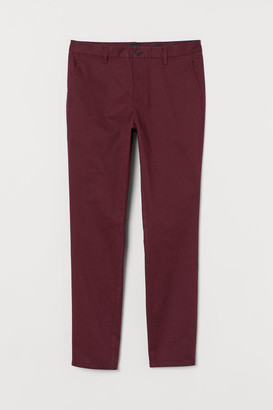 H&M Slim Fit Cotton Chinos - Red
