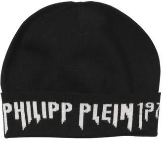 Philipp Plein (フィリップ プレイン) - PHILIPP PLEIN JUNIOR ロゴ入り インターシャウールニットビーニー帽
