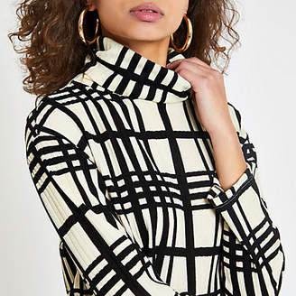 River Island Womens White check print high neck top