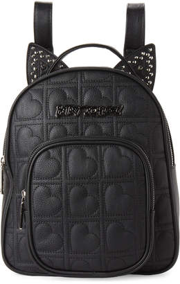 Betsey Johnson Black Heart Quilted Backpack