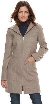 London Fog Tower By Women's TOWER by Hooded Wool Blend Coat