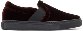 Lanvin Burgundy Velvet Slip-On Sneakers