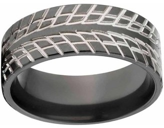 Ring Black Generic Custom Men's Tire Tread Zirconium Wedding Band with Comfort Fit Design