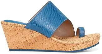 Donald J Pliner GILES, Shiny Metallic Lizard Print Wedge Sandal