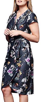 Yumi Winter Floral Wrap Dress, Dark Grey