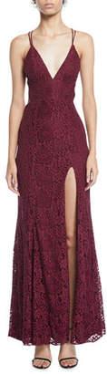 Fame & Partners The Yan Daisy Corded Lace Slit Dress