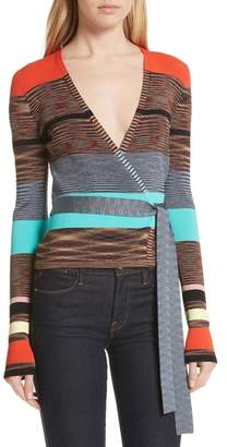 Diane von Furstenberg Crop Stripe Wrap Sweater