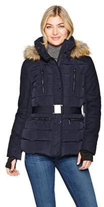 French Connection Women's Faux Fur Wool Belted Anorak