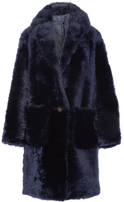 Helmut Lang - Oversized Shearling Coat - Navy $2,495 thestylecure.com