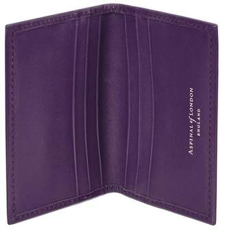 Aspinal of London Double Fold Credit Card Case In Smooth Amethyst