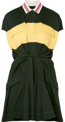 Carven Color-block Cotton-piqué Mini Dress - Forest green