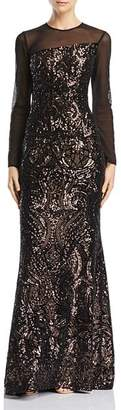 Avery G Sequined Illusion Gown