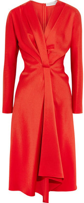 Victoria Beckham - Wrap-effect Satin-crepe Midi Dress - Red