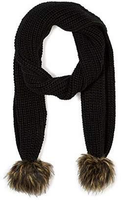 Under Zero Women Winter Knit Scarf Faux Fur Pompom Ball Chunky Warm Muffler