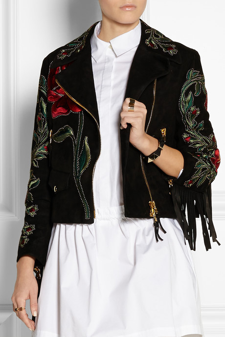 Moschino Fringed embroidered suede biker jacket