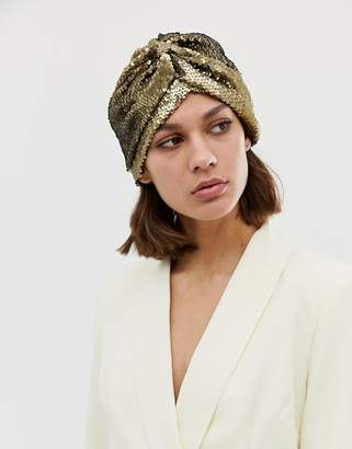 Asos Design DESIGN knot front hat in gold sequin